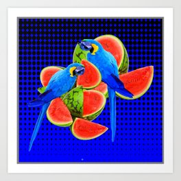 BLUE MACAWS EATING WATERMELONS ON ROYAL BLUE Art Print