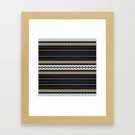 Navy Blue Gold Multi Pattern Stripe Print Framed Art Print