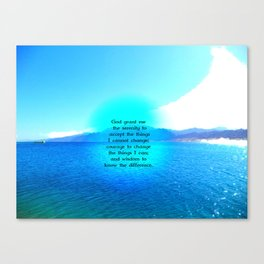 Serenity Prayer With Blue Ocean and Amazing Sky Canvas Print