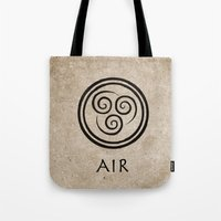 avatar the last airbender Tote Bags featuring Avatar Last Airbender - Air by bdubzgear