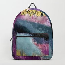 Gemini: a vibrant, colorful abstract piece in gold, purple, blue, black, and white Backpack