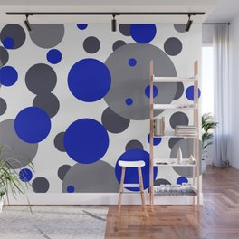 Bubbles blue grey- white design Wall Mural