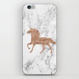 Rose gold unicorn on marble iPhone Skin