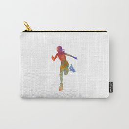 Woman in roller skates 12 in watercolor Carry-All Pouch