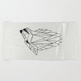 Geometric Howling Wild Wolf Beach Towel