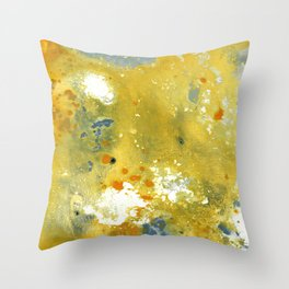 Abstract Acrylic Painting YELLOW Throw Pillow