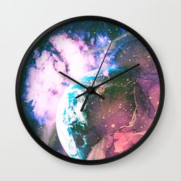 Space Earth Watercolor Wall Clock