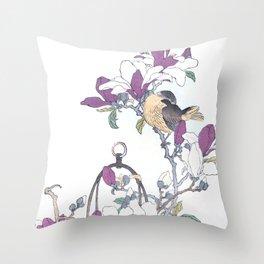 Couple Of Skylarks And Magnolia Bouquet - Antique Japanese Woodblock Print Art - Kono Bairei Throw Pillow