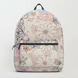 Modern vintage black rose gold watercolor floral Backpack