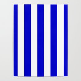 Medium blue - solid color - white vertical lines pattern Poster