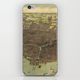 Vintage Pictorial Map of Chicago IL (1893) iPhone Skin