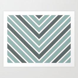 Chevron Shades of Gray & White Art Print