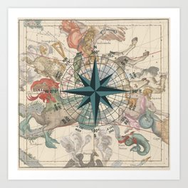 Compass Graphic with an ancient Constellation Map Art Print