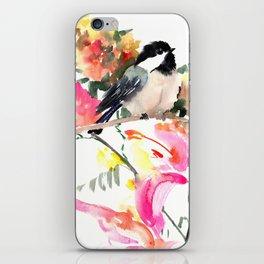 Chickadee bird art design, Birds and Flowers iPhone Skin