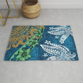 Polynesian - Samoan - Blue Hawaii Tribal Threads Print Rug