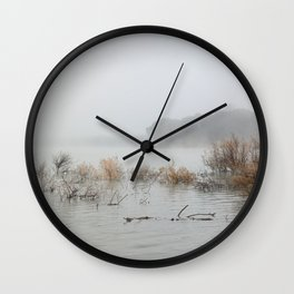"""Foggy sunrise at the lake"". Wall Clock"