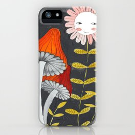 mushrooms and flower in grey background watercolor illustration iPhone Case