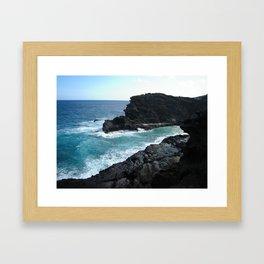 HALONA BLOWHOLE & BEACH COVE Framed Art Print