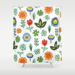Fun Folk Floral Pattern Shower Curtain