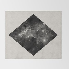 Space Diamond - Abstract, geometric space scene in black and white Throw Blanket