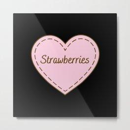 I Love Strawberry's Simple Heart Design Metal Print