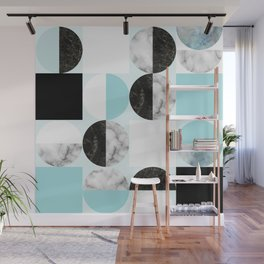 Mid Modern Moon and Sun Geometric Pattern - blue Wall Mural
