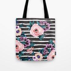 Victoria Floral Stripe Black Tote Bag
