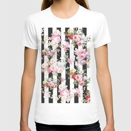 Bold pink watercolor roses floral black white stripes T-shirt