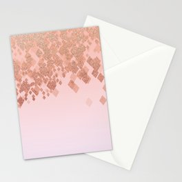 Light Salmon Pink Gradient Faux Glitter Diamonds Stationery Cards