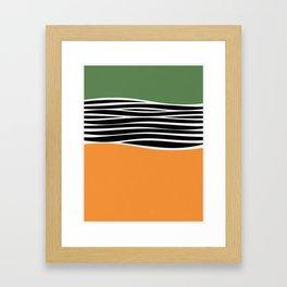 Irregular Shapes & Stripes / Green & Orange Framed Art Print
