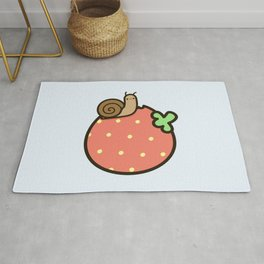 Cute snail on strawberry Rug