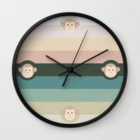 monkey island Wall Clocks featuring Monkey by artsimo