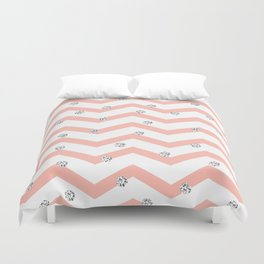 Geometrical coral white silver glitter polka dots Duvet Cover