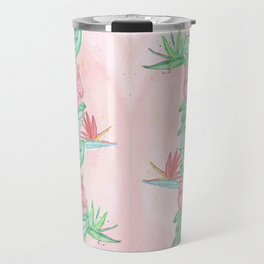 Tropical flowers and leaves watercolor Travel Mug