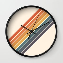 Arida -  70s Summer Style Retro Stripes Wall Clock