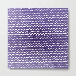 Abstract violet white watercolor geometrical chevron zigzag Metal Print