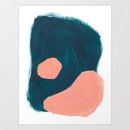 Minimalist Abstract Colorful Mid Century Modern Art Painting Teal Blue Salmon Pink Blobs Art Print