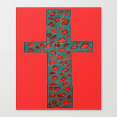 Coral & Teal Leopard Print Cross Canvas Print