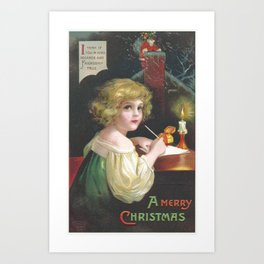 Christmas girl, writing a letter to Santa Claus, was painted by Ellen Clapsaddle Art Print