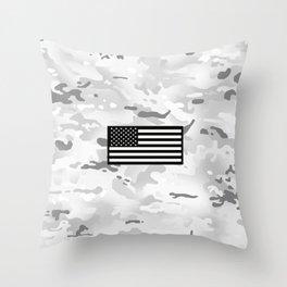 Arctic Camouflage: Black Flag Throw Pillow
