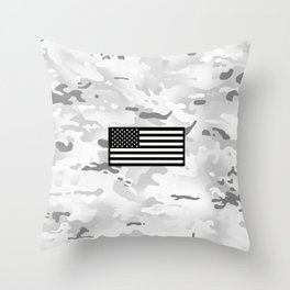 Arctic Camouflage: Black Flag Throw Pillow