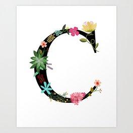 Flower Letter C Monogram Art Print