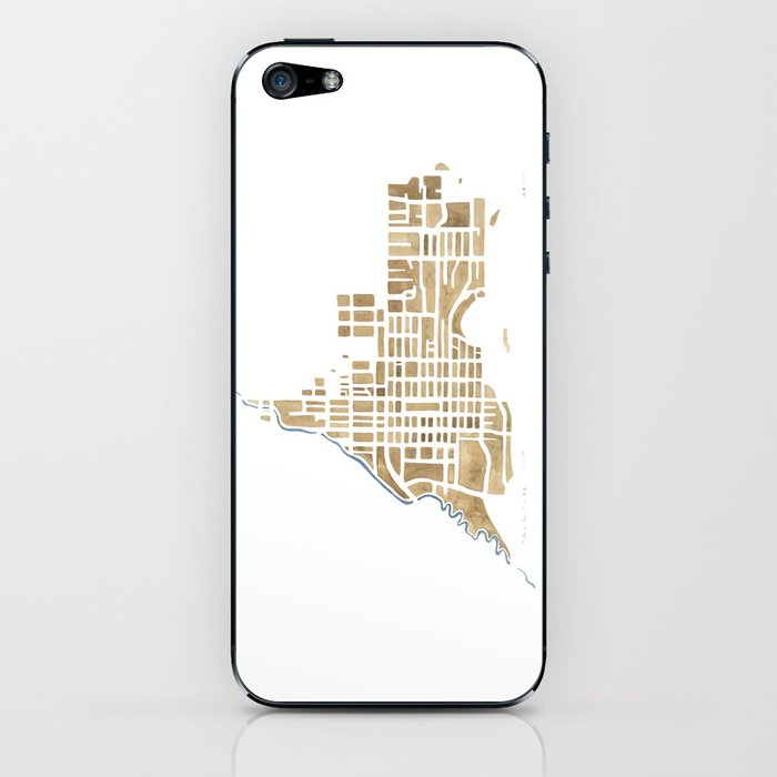 Jackson Wyoming watercolor map iPhone Skin