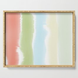Pastel Watercolor Stripes Serving Tray