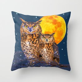 TWO OWLS IN FULL MOONSCAPE NIGHT Throw Pillow