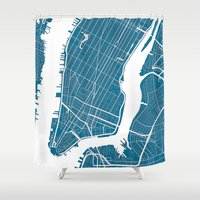new york map Shower Curtains featuring NEW YORK CITY map by Studio Tesouro