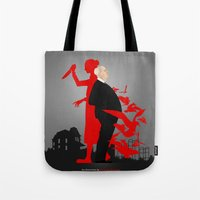 hitchcock Tote Bags featuring Hitchcock by Matias G. Martinez