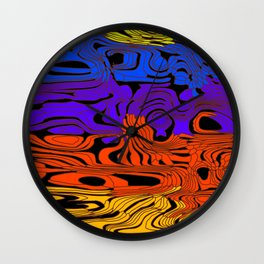 Striped interweaving of yellow spots from colored flowing lava and light horizontal spots. Wall Clock
