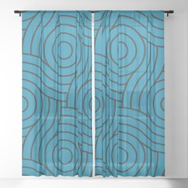 Circle Swirl Pattern Inspired By Primary Blue, Wishing Well Blue, Amazing Sky Blue, Blue to the Bone Sheer Curtain