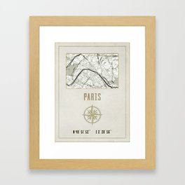 Paris - Vintage Map and Location Framed Art Print
